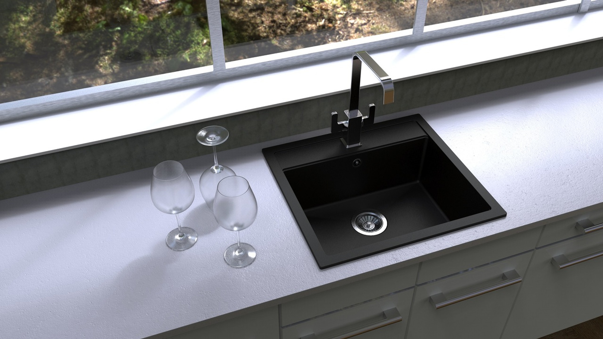 Carysil waltz granite kitchen sink drop in or under mount single bowl 560x510