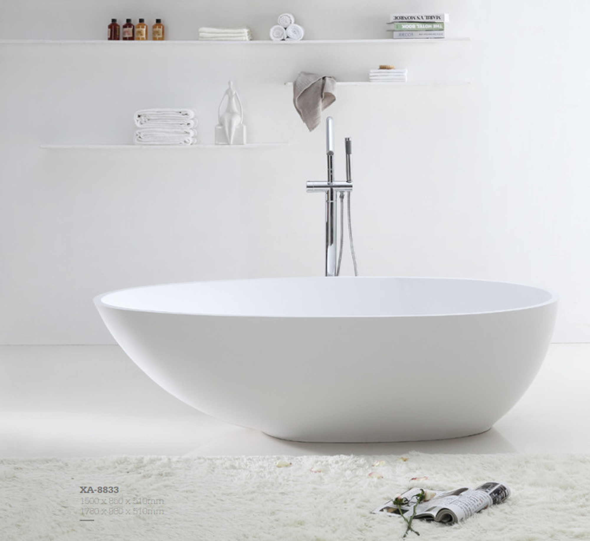 Normandy 8833 Solid Surface Stone Oval Freestanding Bathtub - 1500 ...