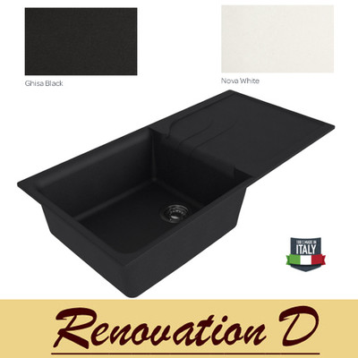 Cino Curva CGS 480T 1000 MM Drop In Single Bowl With Drainer Granite Sink Black White