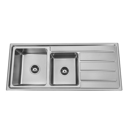Deluxe Inset Kitchen Sink 1120mm- 1 & 3/4 Bowl with Draining Board