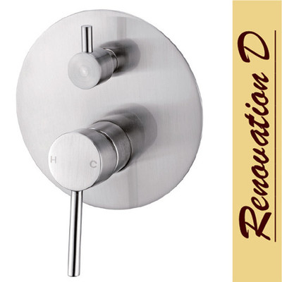Brushed Nickel Satin Lollypop Shower Mixer With Diverter