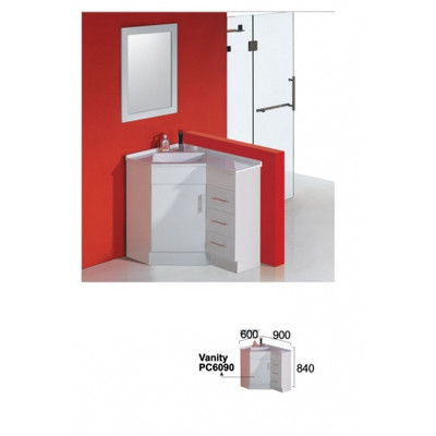 Normandy CORNER VANITY 600MM X 900MM X 840MM Left Or Right Drawer