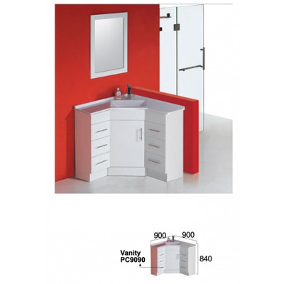 Normandy CORNER VANITY WITH DOUBLE DRAWER UNITS 900MM X 900MM X 840MM