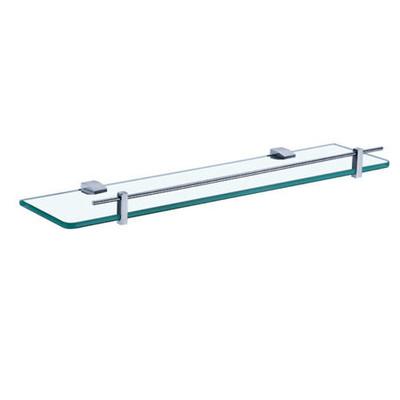 Normany 550 Single Glass Shelf, Solid Brass & Chrome