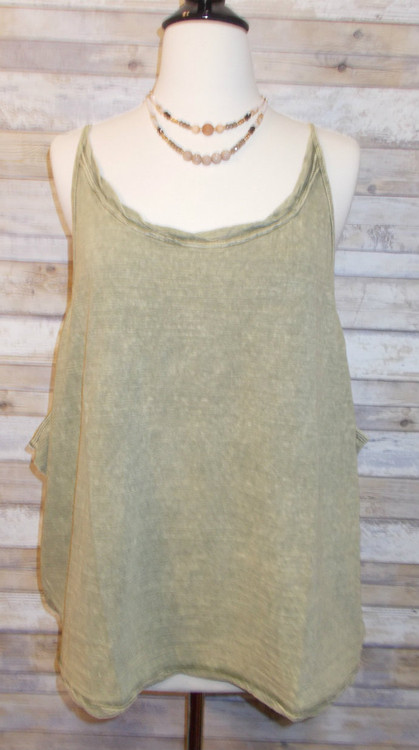 Dusty Olive Green Spaghetti Strap Tank with Scoop Neckline