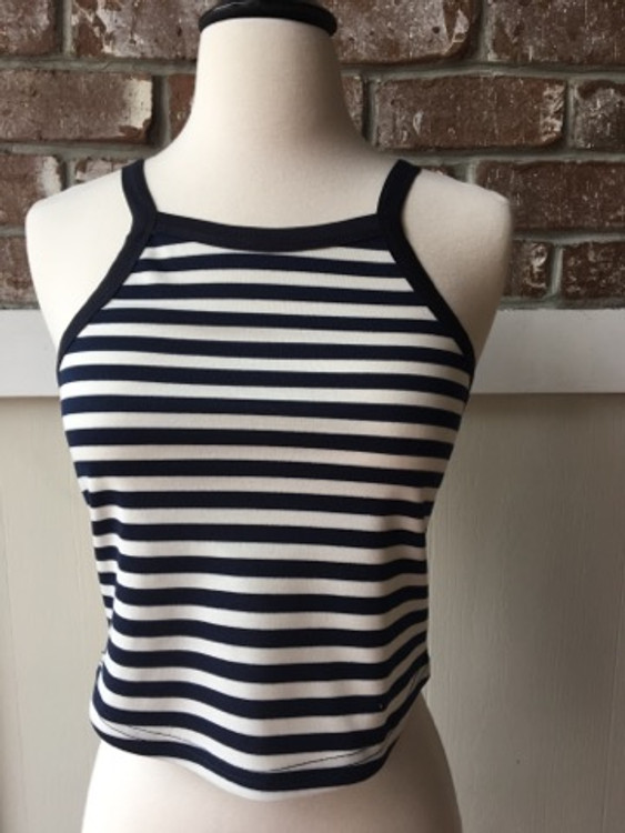 Navy and Ivory Striped Crop Tank Top