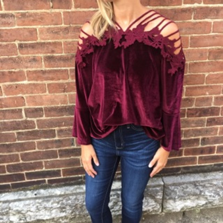 Wine Strappy Shoulder Velour Top