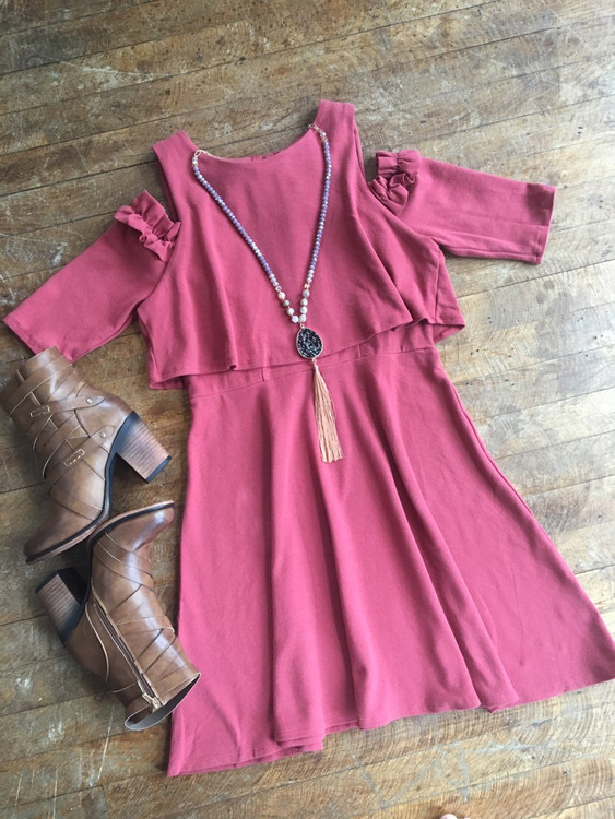 Crimson Cold Shoulder Dress