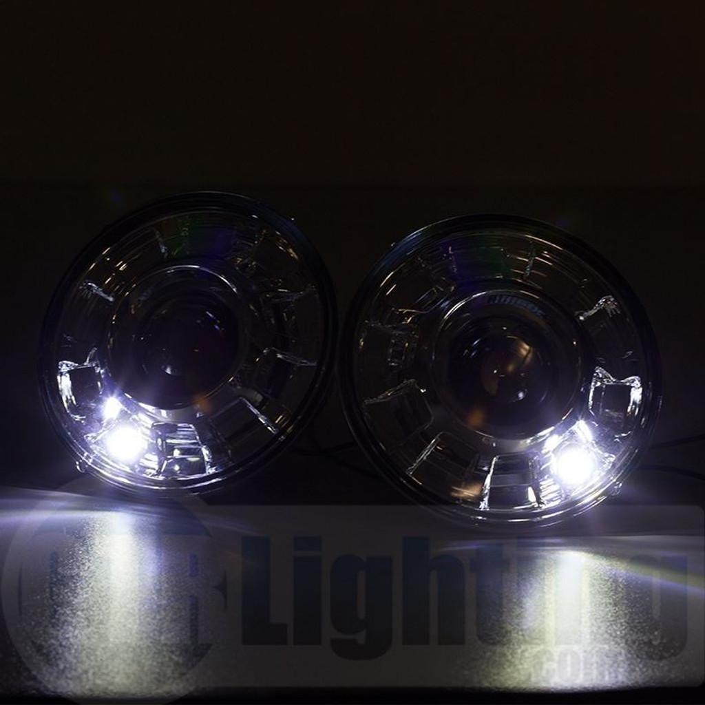 "GTR Lighting Tru-Projector Dual Beam 7"" Round H6024 Chrome Headlight Housing"