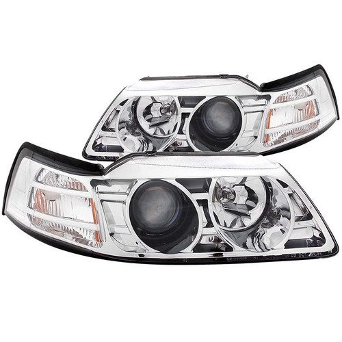 Anzo 99-04 Ford Mustang Projector Headlights - Chrome Housing