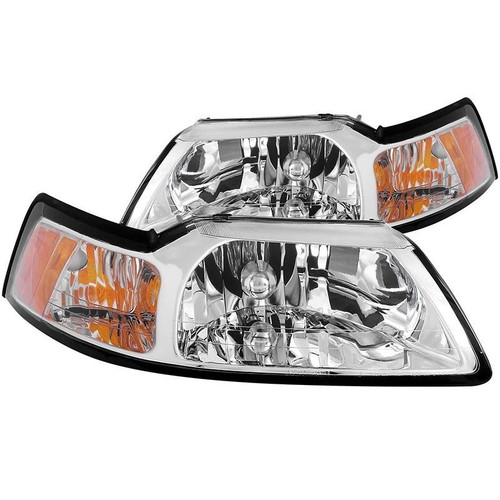 Anzo 99-04 Ford Mustang Crystal Headlights - Chrome Housing