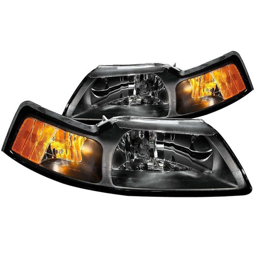 Anzo 99-04 Ford Mustang Crystal Headlights - Black Housing