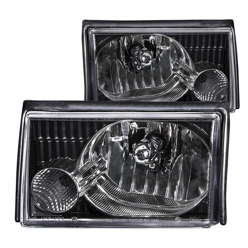 Anzo 87-93 Ford Mustang Crystal Headlights - Black Housing