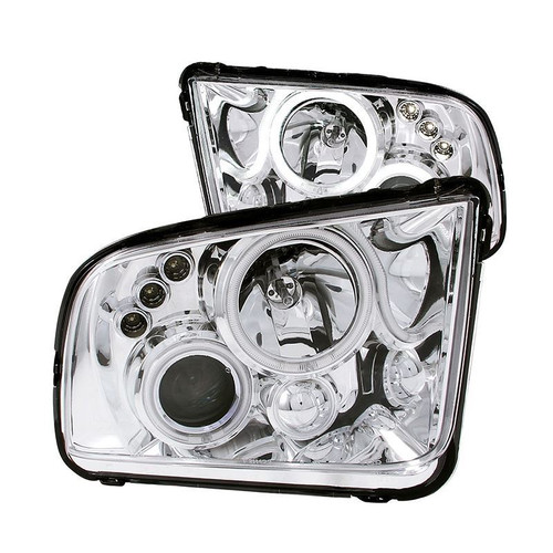 Anzo 05-09 Ford Mustang Projector Headlights with Halo - Chrome Housing