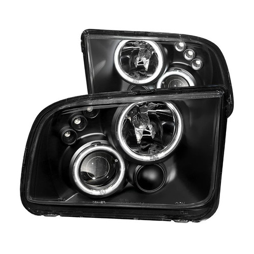 Anzo 05-09 Ford Mustang Projector Headlights with Halo - Black Housing