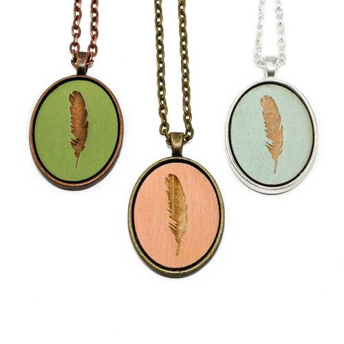 Small Cameo Pendants - Feather