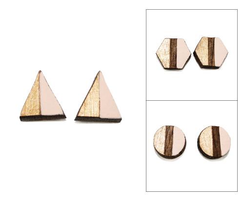 Geo Post Earrings - Pale Pink & Gold