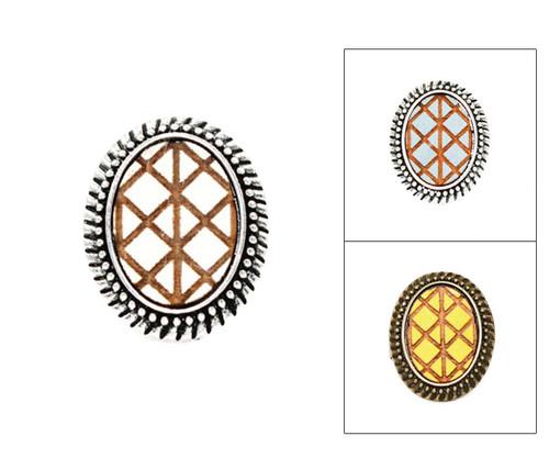 Large Cameo Ring - Geometric Criss Cross