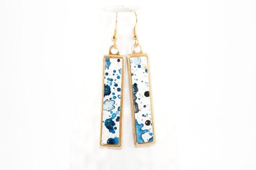 Long Splatter Painted Dangle Earrings - Ink