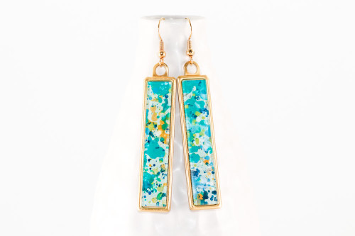 Long Splatter Painted Dangle Earrings - Caribbean Waters