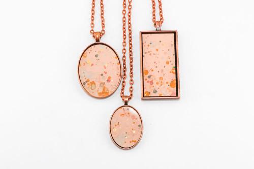 Splatter Painted Pendant - Rose Gold (Choose Your Setting)
