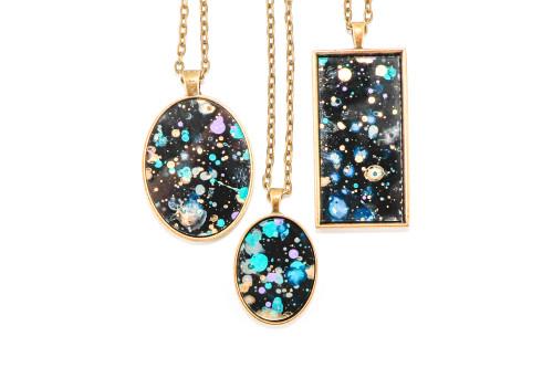 Splatter Painted Pendant - Black Galaxy (Choose Your Setting)