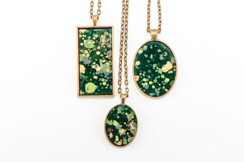 Splatter Painted Pendant - Emerald Isle (Choose Your Setting)