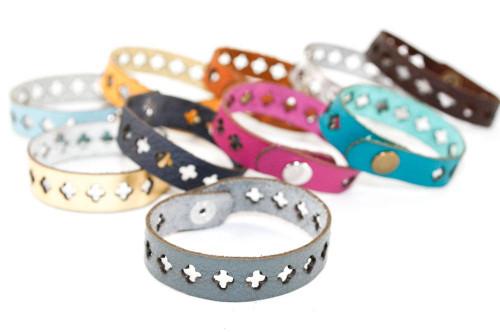 Skinny Leather Bracelet - Cross Cutout Pattern