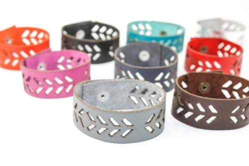 Leather Bracelet - Geometric Arrow Pattern
