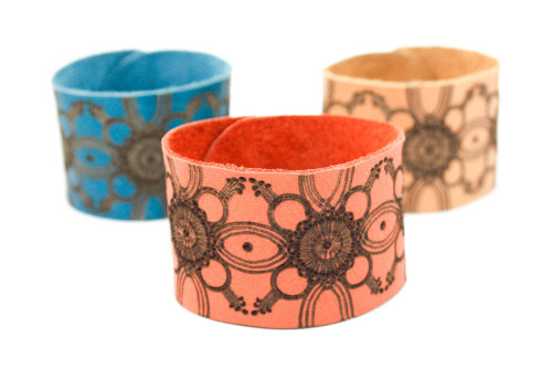 Wide Leather Cuff - Engraved Floral Design