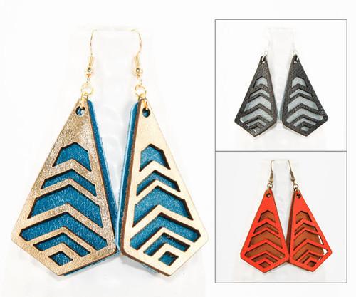 Leather Earrings - Chevron Cutouts
