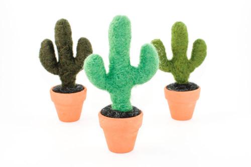 Miniature Needle Felted Saguaro Cactus in Terracotta Pot (Choose Your Color)