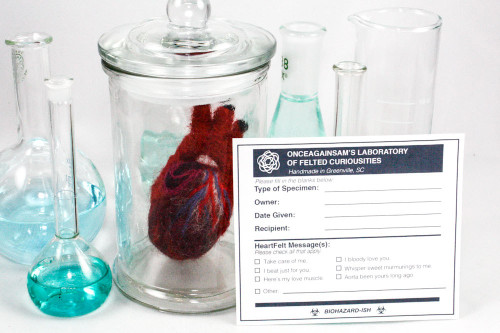XS Felted Heart in Specimen Jar (Quirky Get Well Gift)