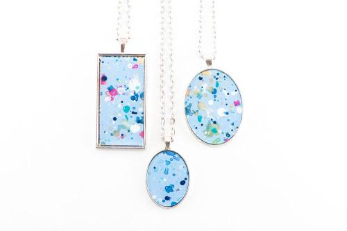 Splatter Painted Pendant - Confetti (Choose Your Setting)
