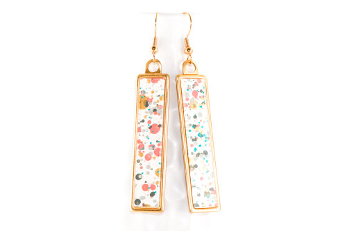Long Splatter Painted Dangle Earrings - Garden Party