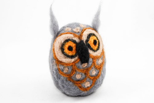 Needle Felted Owl (Gray & Brown)