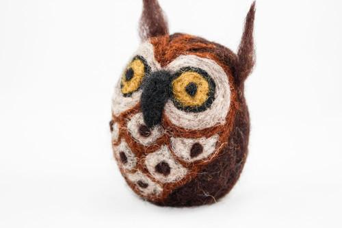 Needle Felted Owl (Dark Brown & Tan)