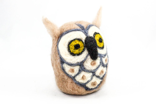 Needle Felted Owl (Tan with Gray Accents)