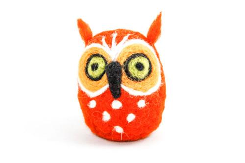 Needle Felted Owl (Orange & Yellow)