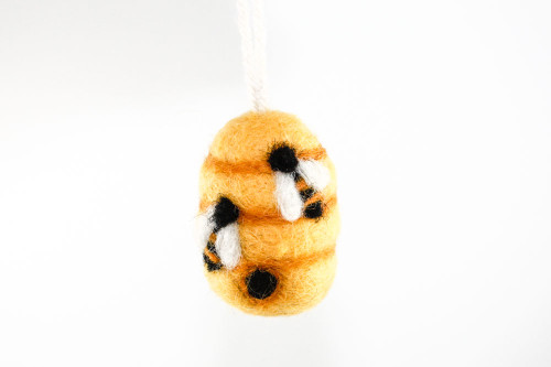 Felted Beehive Christmas Ornament