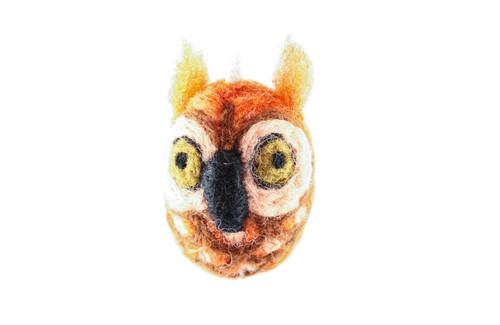 Felted Owl Christmas Ornament (Sienna & Tan)