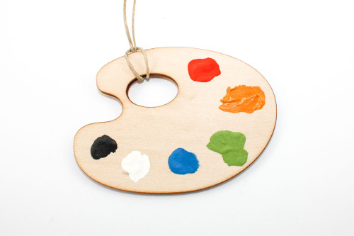 Artist's Palette Christmas Ornament: Laser Cut Wood