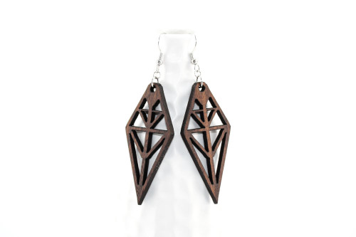 Laser Cut Wood Dangle Earrings: Tribal Design