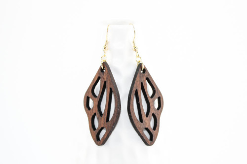 Laser Cut Wood Dangle Earrings: Butterfly Design