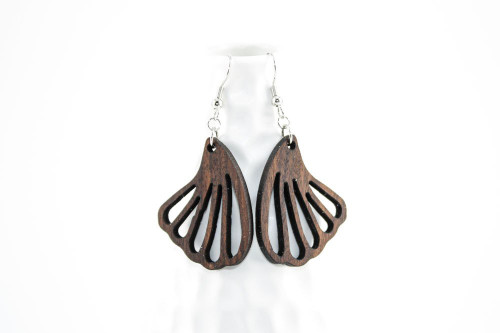 Laser Cut Wood Dangle Earrings: Wing Design