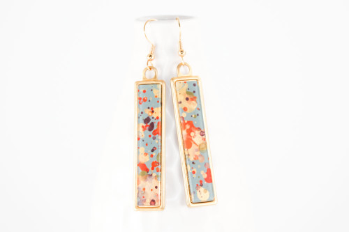 Long Splatter Painted Dangle Earrings - Autumn Leaves