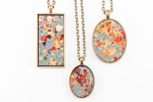 Splatter Painted Pendant - Autumn Leaves (Choose Your Setting)