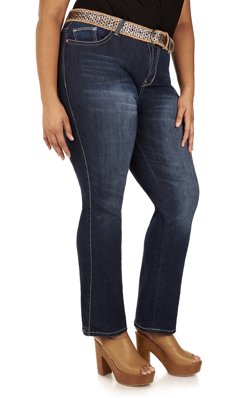 11bb9c8f2c8 Plus Size Legendary Belted Bootcut Jeans In Renee - WallFlower Jeans
