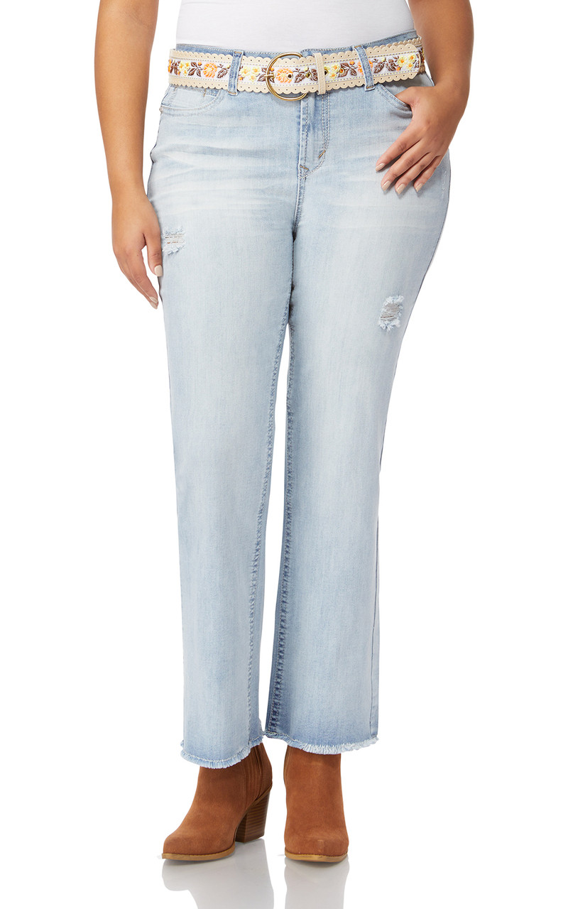 f1b60063bc2 Plus Size Legendary Belted Bootcut Jeans In Bleeker - WallFlower Jeans