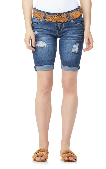 Belted Rolled Cuff Denim Bermuda Shorts In Mari